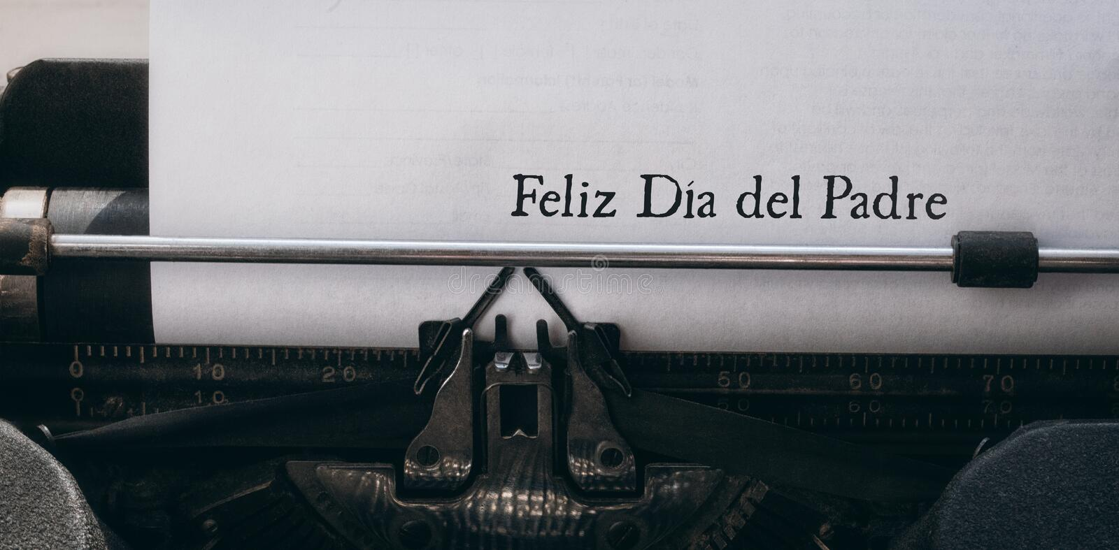 Feliz dia del padre written on paper. With typewriter stock photography