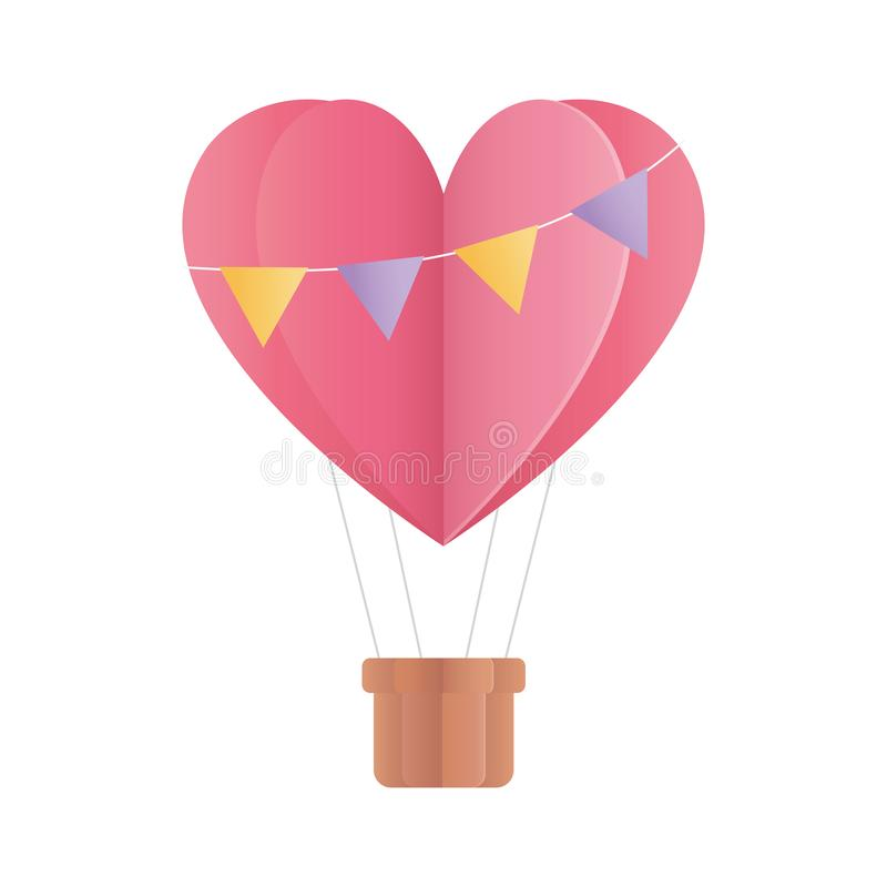 Feliz dia dos namorados formato de balão de ar quente cardíaco guardanapo papel origami ilustração do vetor