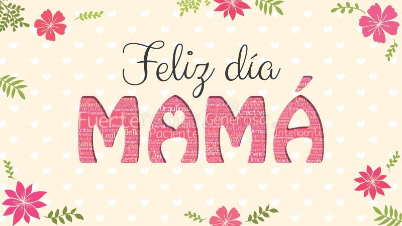 Feliz Dia MAMA kartka z pozdrowieniami - Szczęśliwa dzień mama w Hiszpańskim języku - Słowo mama tworzył słowo chmurą różni kolor ilustracja wektor