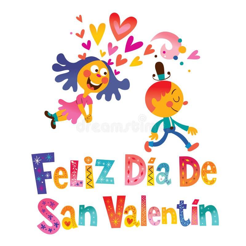 Feliz diameter de San Valentin Happy Valentines Day i spanjor vektor illustrationer