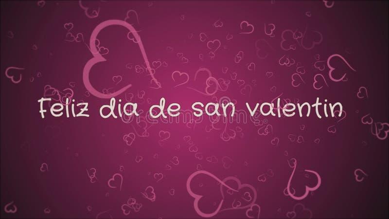 Feliz diameter de san Valentin, lyckliga valentin dag i spanskt språk, hälsningkort royaltyfri illustrationer