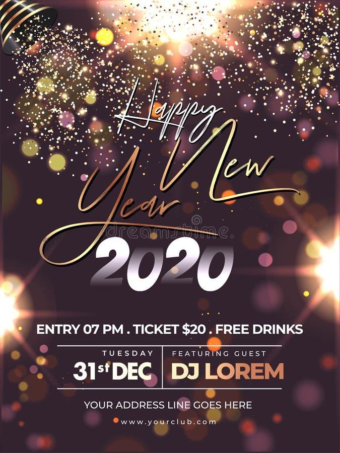 Feliz diseño del volante de la celebración de Año Nuevo 2020 con la caída del brillo del crepúsculo en efecto de luz marrón fondo libre illustration