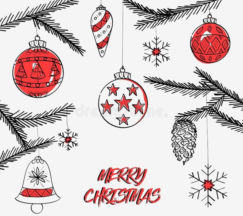 Feliz diseño hermoso de Crhistmas con la campana de la Navidad ilustración del vector