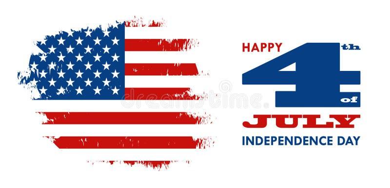 Feliz el 4 de julio - Día de la Independencia de los Estados Unidos de América stock de ilustración