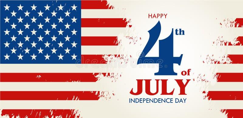 Feliz el 4 de julio - Día de la Independencia de los Estados Unidos de América ilustración del vector