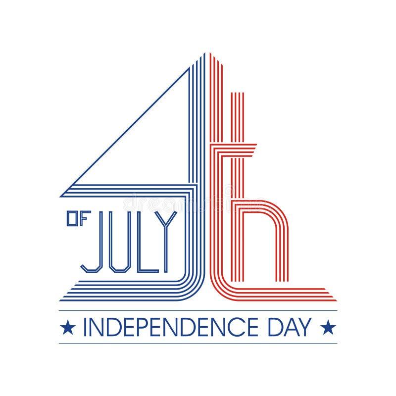 Feliz el 4 de julio, diseño del vector del Día de la Independencia de los E.E.U.U. ilustración del vector