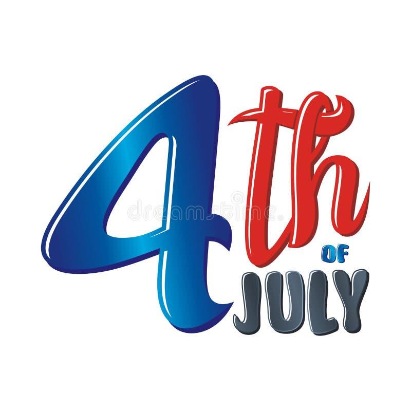Feliz el 4 de julio, diseño del vector del Día de la Independencia de los E.E.U.U. stock de ilustración
