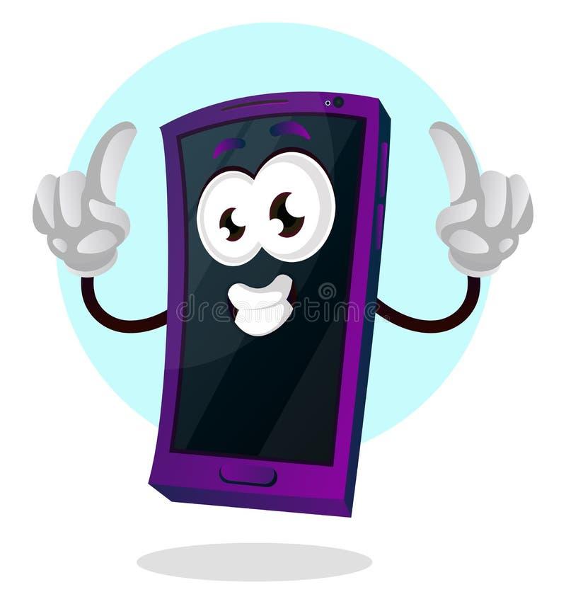 Feliz emoji móvel com ambos os polegares para cima vetor de ilustração ilustração stock