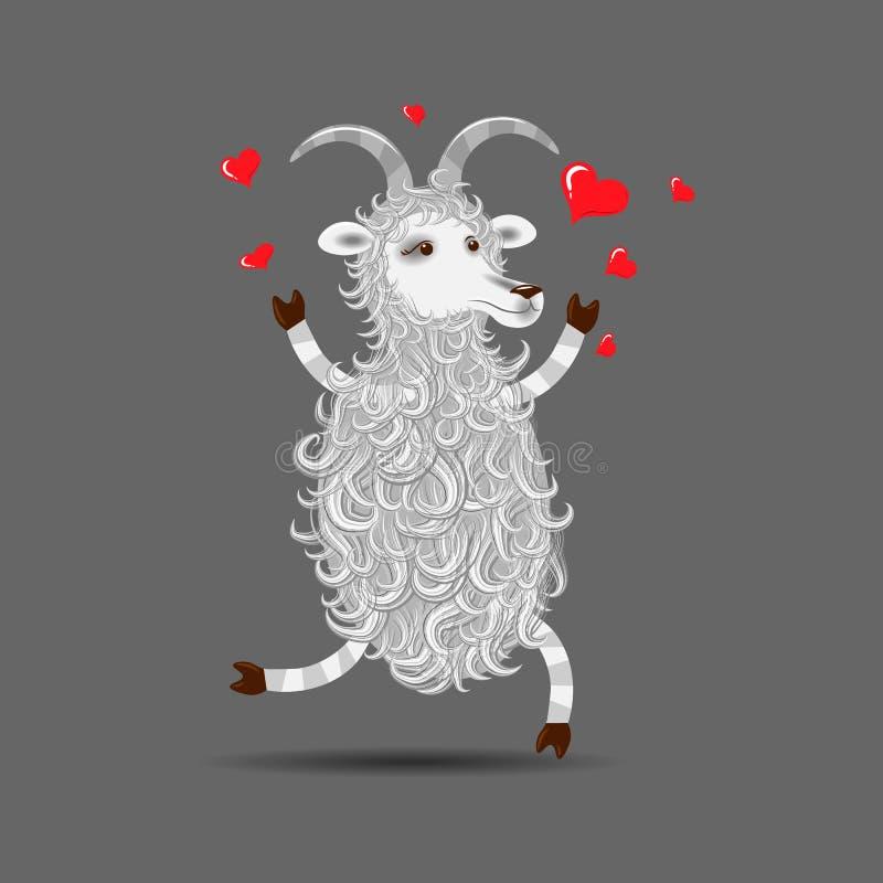 Feliz en cabra mullida de la historieta blanca divertida del amor libre illustration