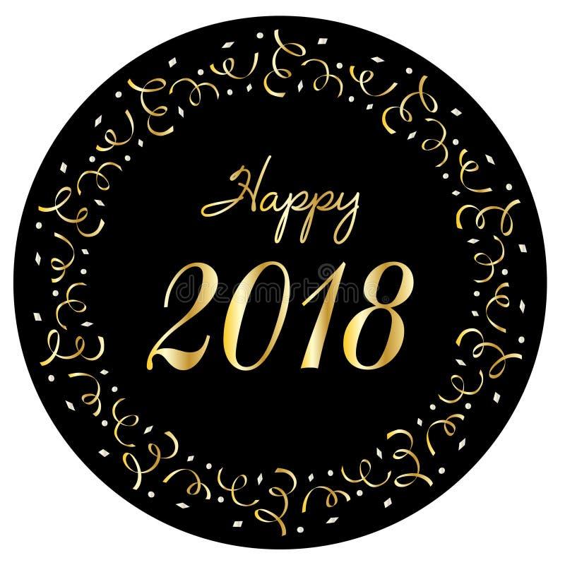 2018 feliz en el marco de plata del círculo del confeti del oro ilustración del vector