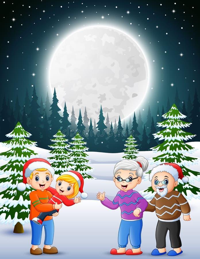 Feliz familly no jardim nevado na noite ilustração royalty free