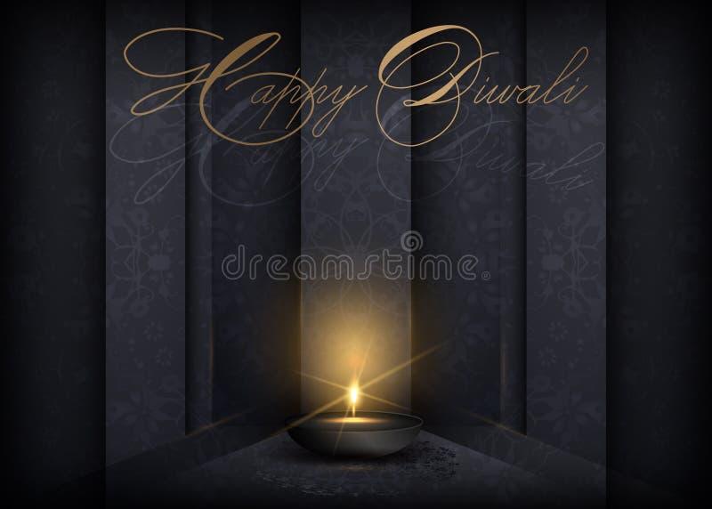 Feliz Festival de Luzes Diwali Lâmpada de ouro de luxo em dourada mandala de ouro no céu noturno, Hindu Diwali Ornament Golden ilustração stock