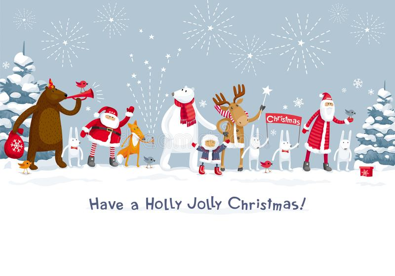 Feliz fiesta de Navidad en el bosque stock de ilustración
