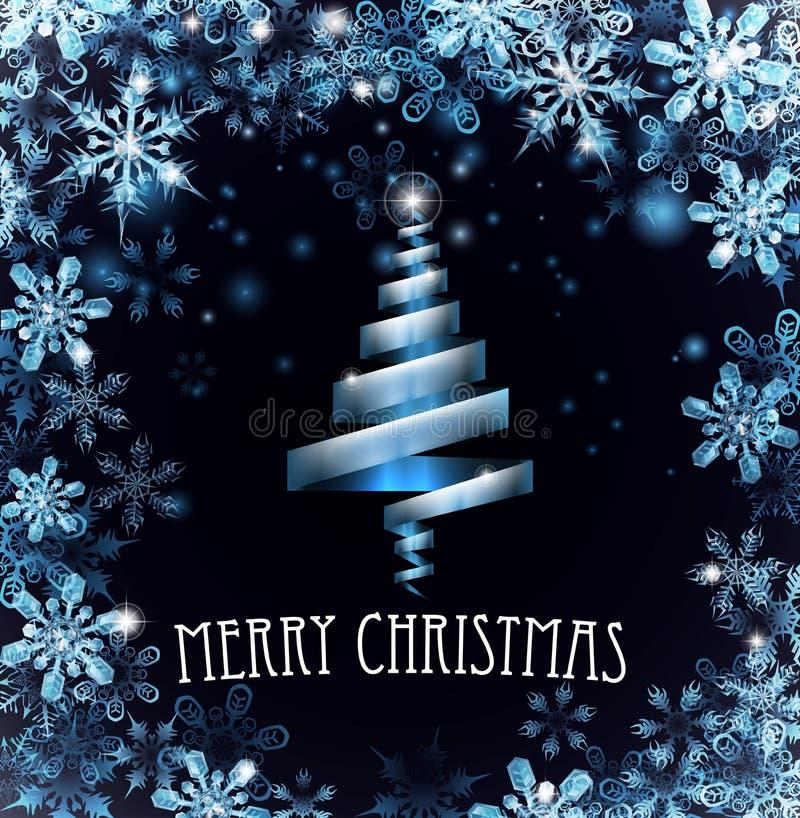 Feliz fondo azul de los copos de nieve del árbol de navidad ilustración del vector
