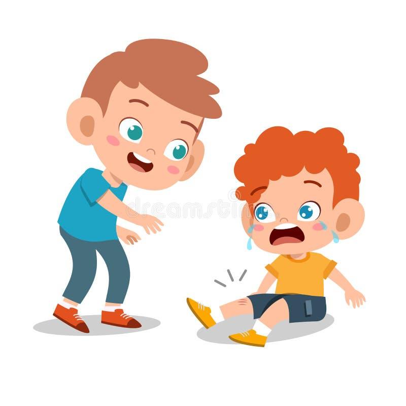 feliz garoto bonitinho jogando com um amigo juntos ilustração stock