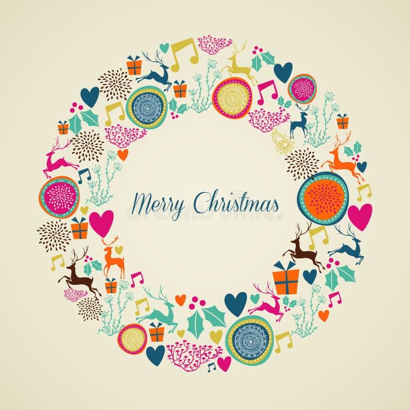 Feliz guirnalda de los elementos de la Navidad del vintage libre illustration