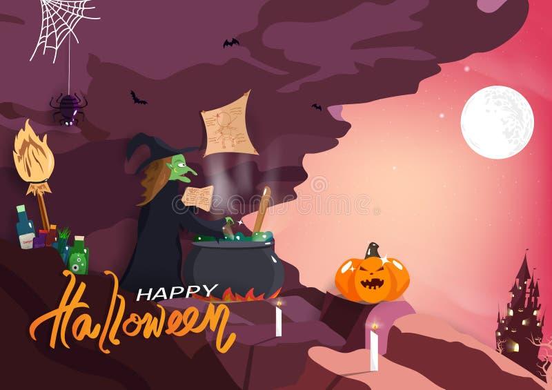 Feliz Halloween, bruja que cocina con la magia, fantasía del misterio, vector del fondo del cartel de la invitación de la tarjeta ilustración del vector