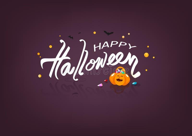 Feliz Halloween, caramelo dulce y calabaza, ejemplo líquido del vector del concepto del cartel del logotipo de las banderas, cali ilustración del vector