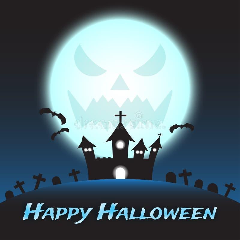 Feliz Halloween - castillo debajo de la luna monstruosa azul ilustración del vector