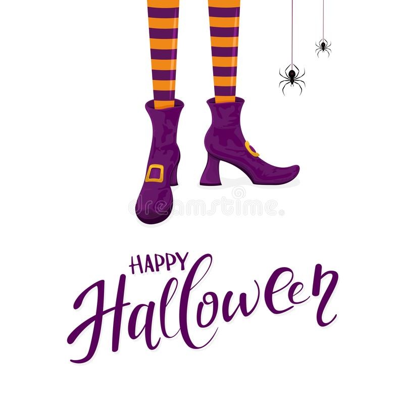 Feliz Halloween con las piernas de las brujas en zapatos púrpuras stock de ilustración
