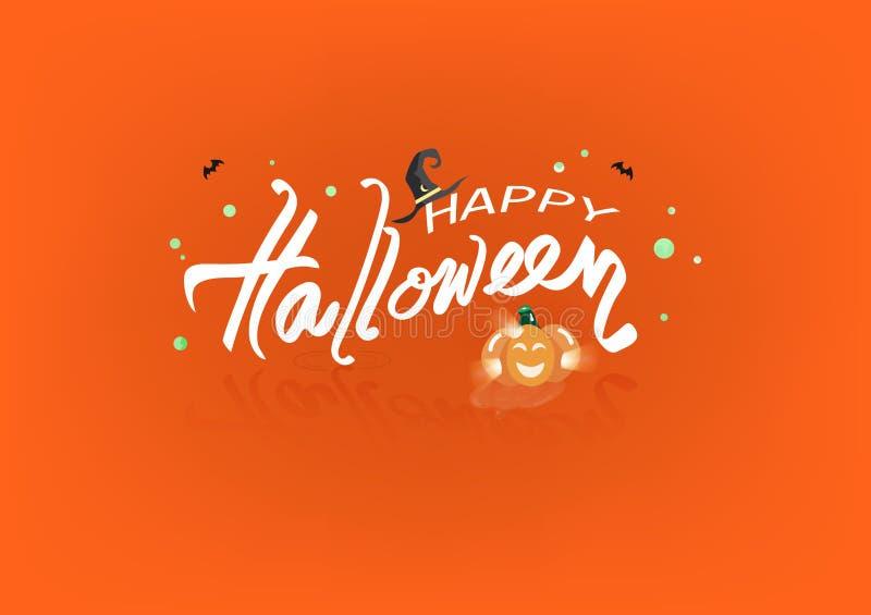 Feliz Halloween, concepto líquido del chapoteo del cartel del logotipo de las banderas, sombrero de la bruja, palos y ejemplo del libre illustration