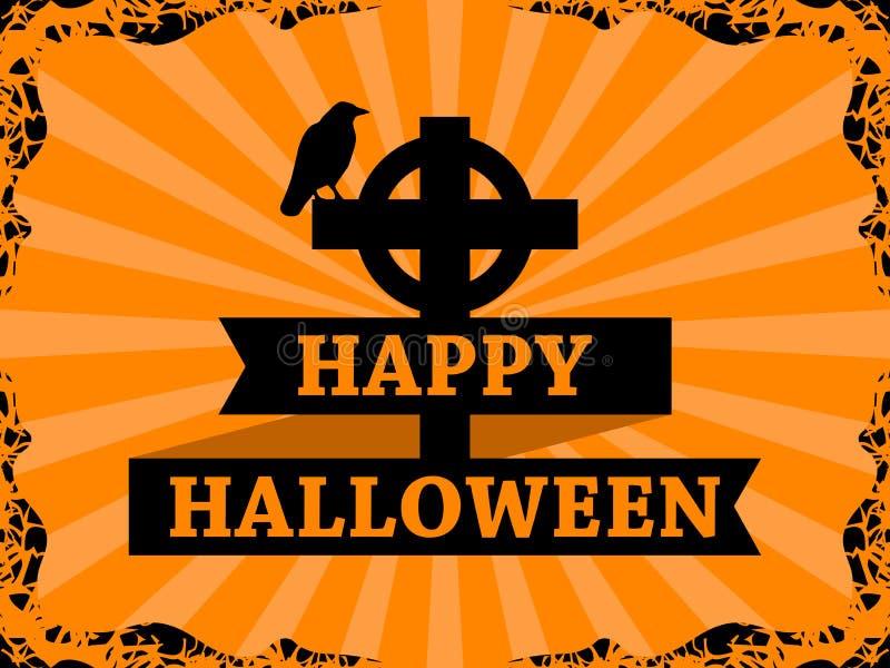 Feliz Halloween cuervo del 31 de octubre en la cruz con la cinta Capítulo con los rayos en fondo Tarjeta de felicitación del día  ilustración del vector