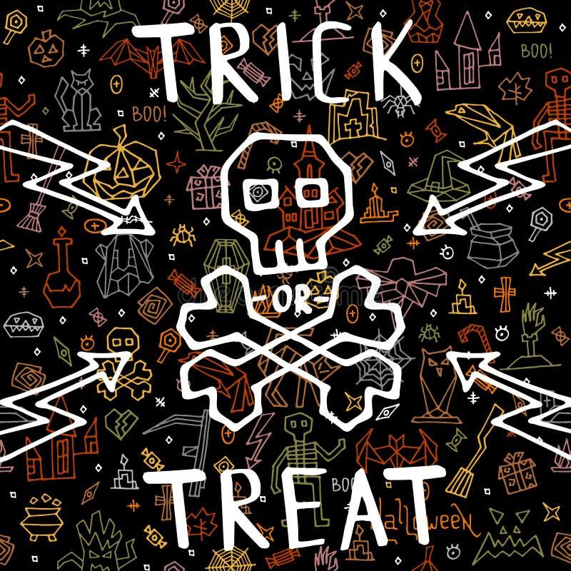 Feliz Halloween de la tarjeta de felicitación con garabato stock de ilustración