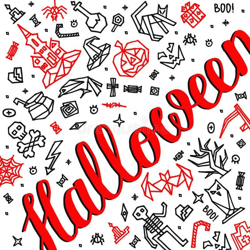 Feliz Halloween de la tarjeta de felicitación con las letras stock de ilustración