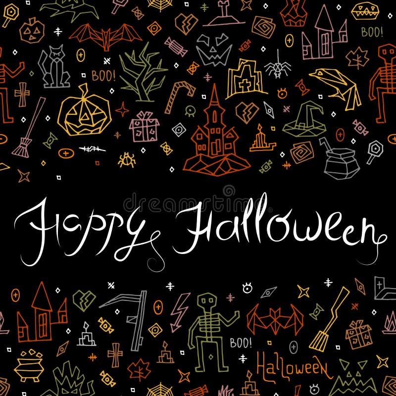 Feliz Halloween de la tarjeta de felicitación con las letras ilustración del vector