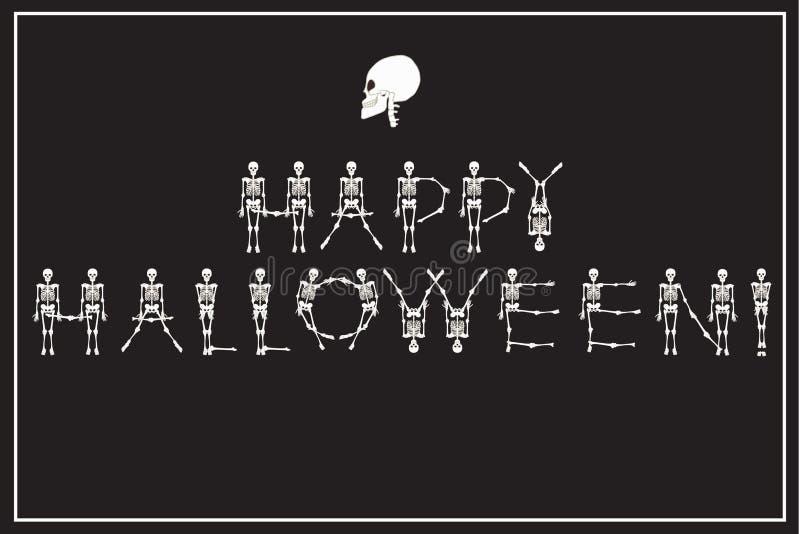 Feliz Halloween de las letras con la fuente de los esqueletos del baile, sistema de le ilustración del vector