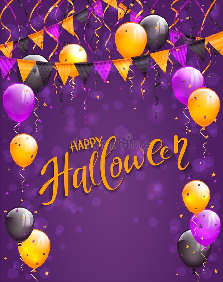 Feliz Halloween de las letras con los banderines y los globos en el fondo violeta stock de ilustración