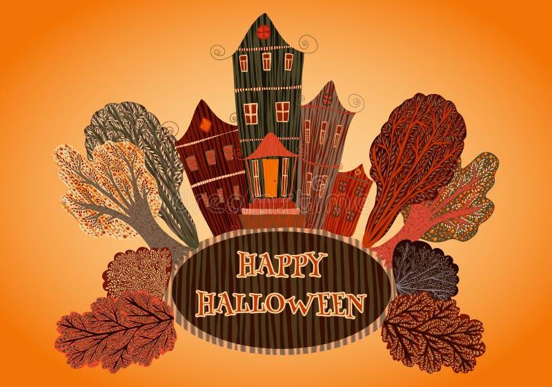 Feliz Halloween del cartel del vintage con la casa y los árboles Tarjeta, impresión, postal, invitación, aviador en estilo de la  ilustración del vector