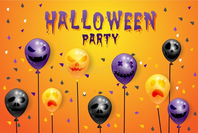 Feliz Halloween del partido en fondo con los globos stock de ilustración