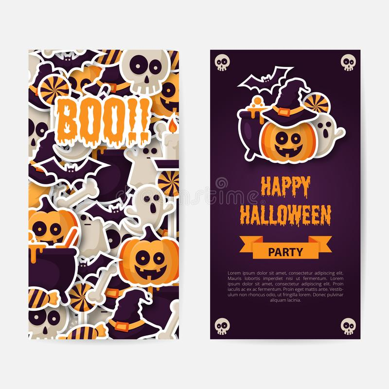 Feliz Halloween dos diseños de los lados cartel, del aviador o del menú libre illustration