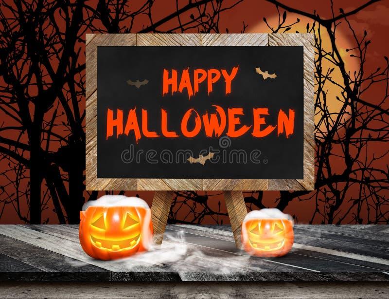 Feliz Halloween en la pizarra con el caballete en el tablón del grunge de madera ilustración del vector