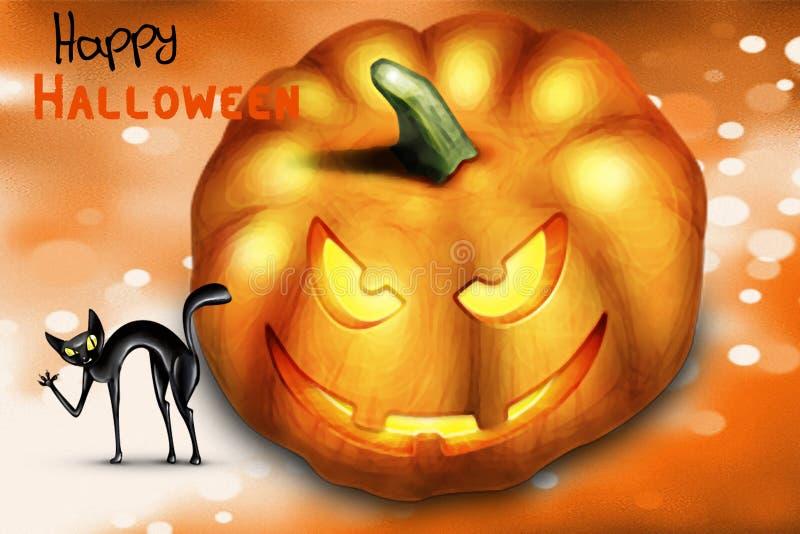 Feliz Halloween - este día traerá buena suerte stock de ilustración