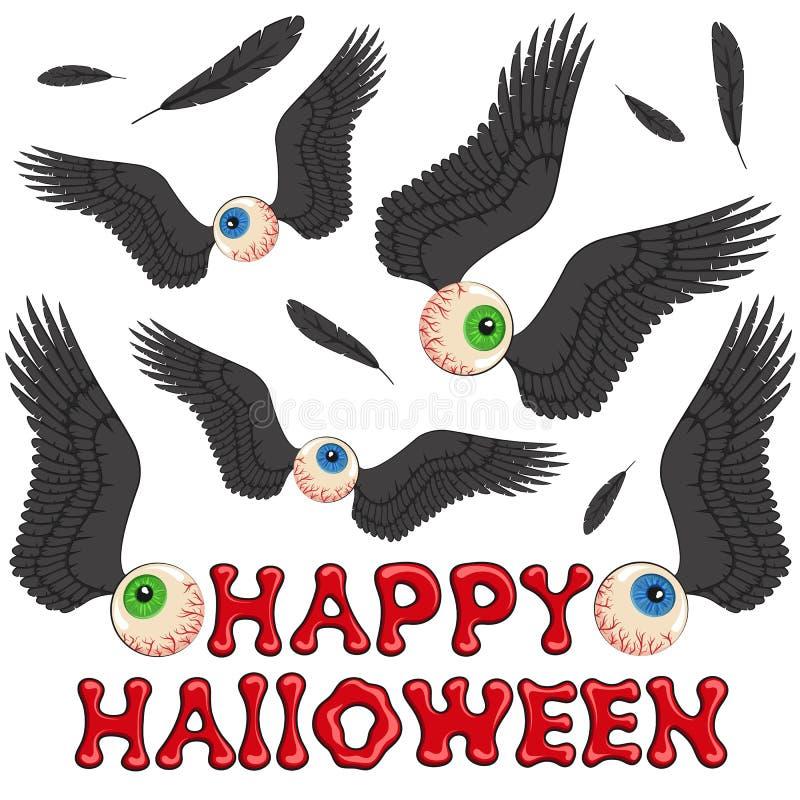 Feliz Halloween, fondo con los ojos y alas Objetos coloreados stock de ilustración