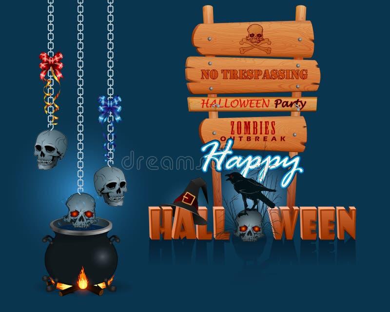 Feliz Halloween, fondo con una caldera mágica y muestra de madera ilustración del vector