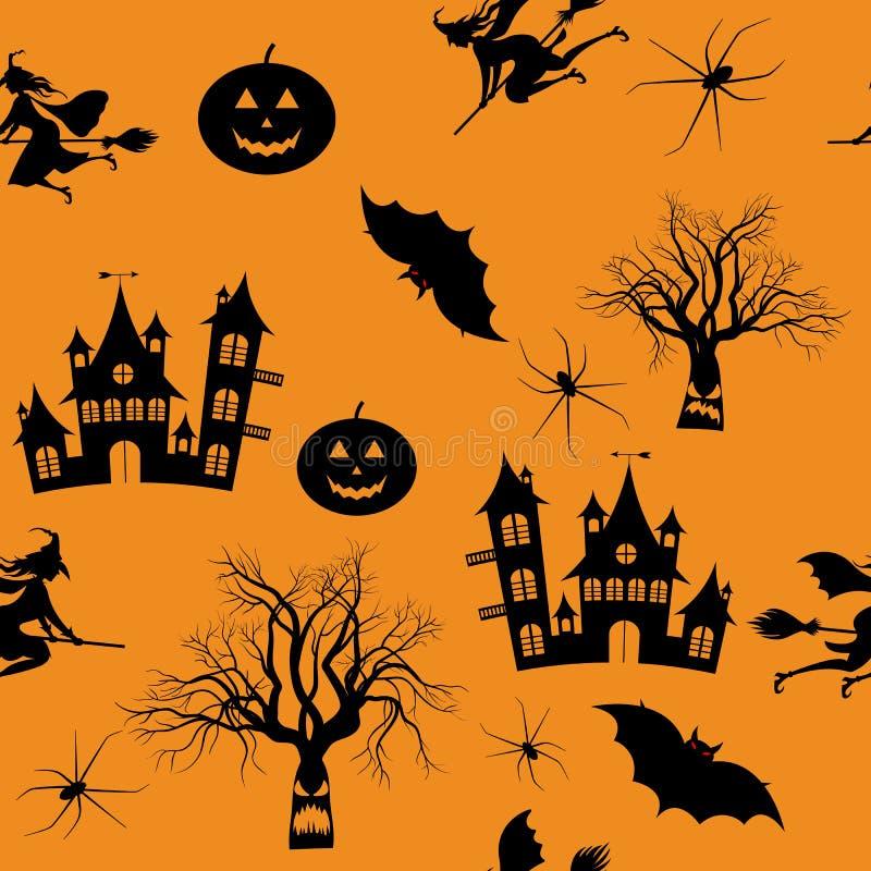 Feliz Halloween, noche, luna, árboles espeluznantes, calabaza, palos, brujas libre illustration