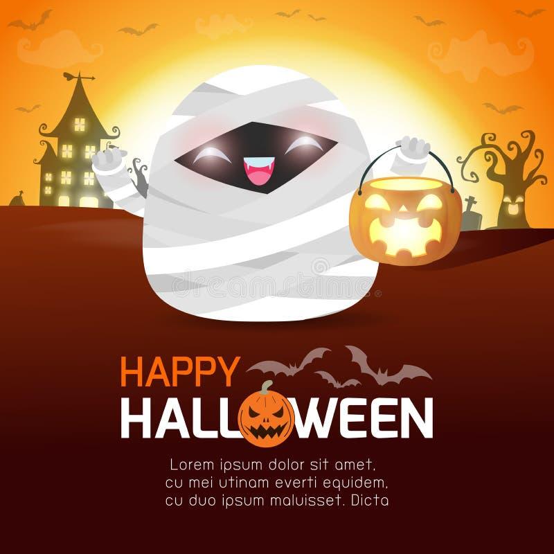 Feliz Halloween, pequeña pequeña calabaza linda linda de la tenencia de la momia en el claro de luna, truco de la bandera de Hall stock de ilustración