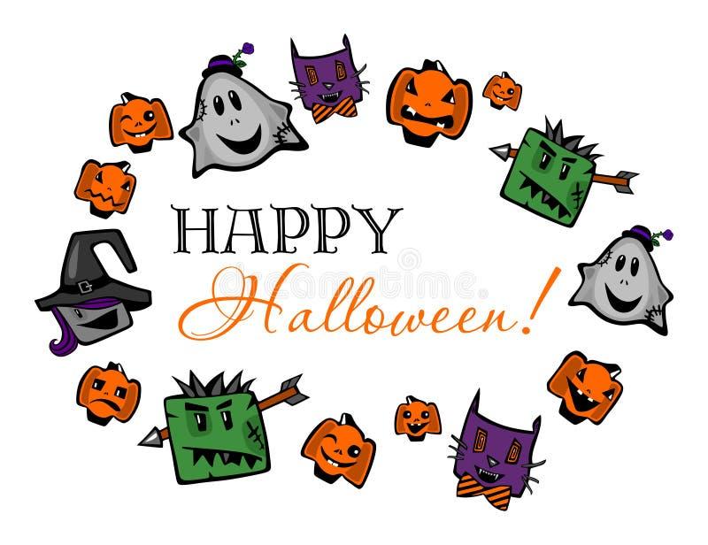 Feliz Halloween, poniendo letras con las calabazas, los zombis, las brujas, los fantasmas y los gatos ilustración del vector