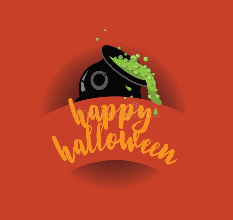 Feliz Halloween que derrama diseño de la caldera libre illustration