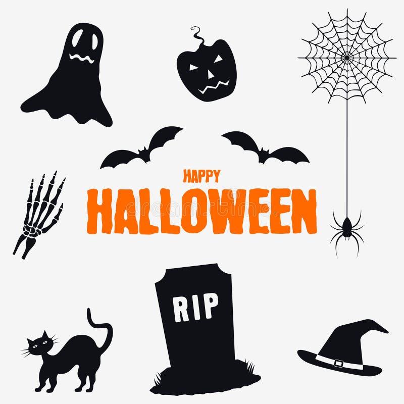 Feliz Halloween - sistema de elementos de las decoraciones La colección de Halloween siluetea iconos Vector stock de ilustración