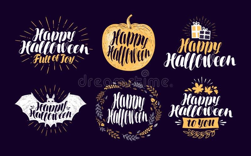 Feliz Halloween, sistema de etiqueta Símbolo o logotipo del día de fiesta Letras, ejemplo del vector de la caligrafía stock de ilustración