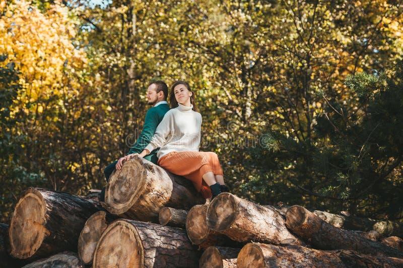Feliz homem e mulher sentados de volta na pilha de lenha e logs fotografia de stock