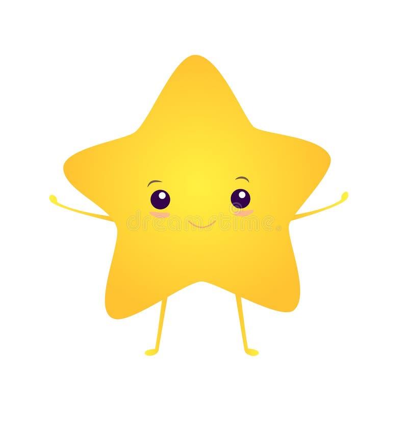 Feliz, kawaii, asterisco sonriente brillante, aislado en el fondo blanco Ejemplo del vector con la estrella linda Estilo de la hi ilustración del vector