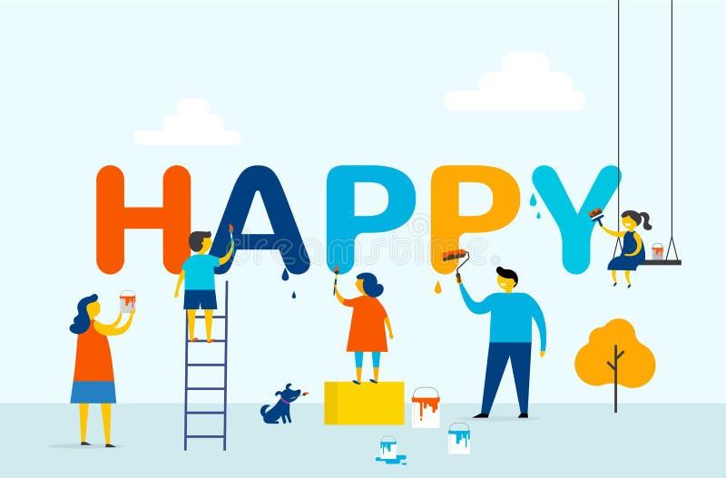Feliz - la familia está pintando letras, diseño de concepto con los niños, la madre y al padre, escena al aire libre del verano stock de ilustración