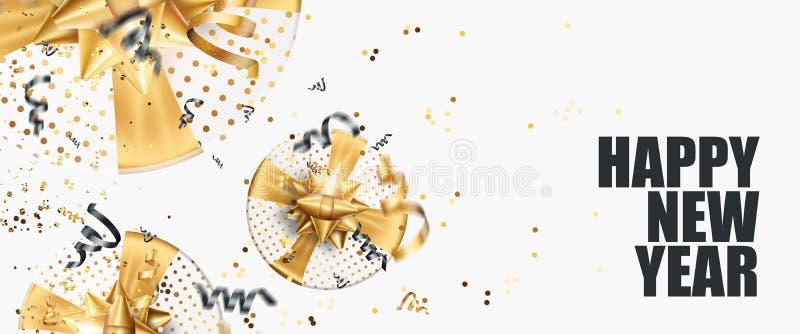 Feliz logotipo do folheto do ano 2020 em um fundo branco Design em ouro negro Modelo de projeto de brochura, cartão, banner ilust ilustração do vetor