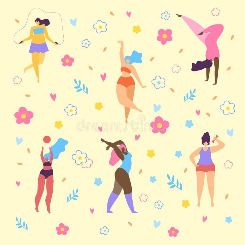 Feliz mais meninas do tamanho e o estilo de vida saudável ativo ilustração royalty free