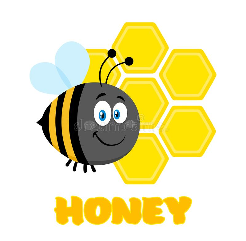 Feliz manosee el vuelo de la abeja del personaje de dibujos animados de la abeja en los panales de Front Of A con el texto imagenes de archivo